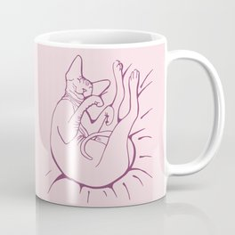 Blush Pink - Lazy Sphynx Cat Sleeping - Hairless Kitty Chill Vibes - Pet Animal Line Drawing Coffee Mug