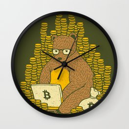Bitcoin Miner T-shirt Bear Wall Clock