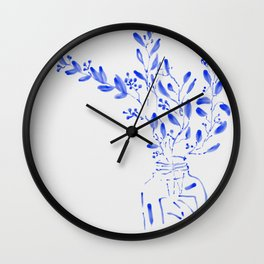 blue watercolor flowers Wall Clock