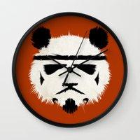 trooper Wall Clocks featuring Panda Trooper by Danny Haas