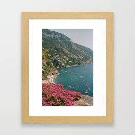 boats on the coast Framed Art Print