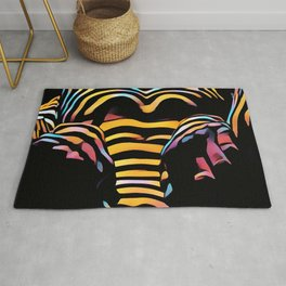 1276s-MAK Intimate Nude Abstraction Striped Torso With Hands On Thighs Rug