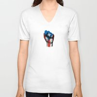 puerto rico V-neck T-shirts featuring Puerto Rican Flag on a Raised Clenched Fist by Jeff Bartels