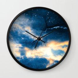 Celestial Grunge Clouds Wall Clock