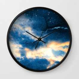 Celestial Grunge Clouds Wall Clock