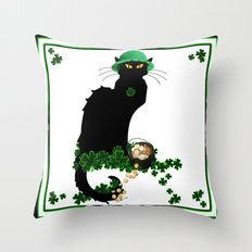 Le Chat Noir - St Patrick's Day Pot of Gold and Shamrocks Throw Pillow