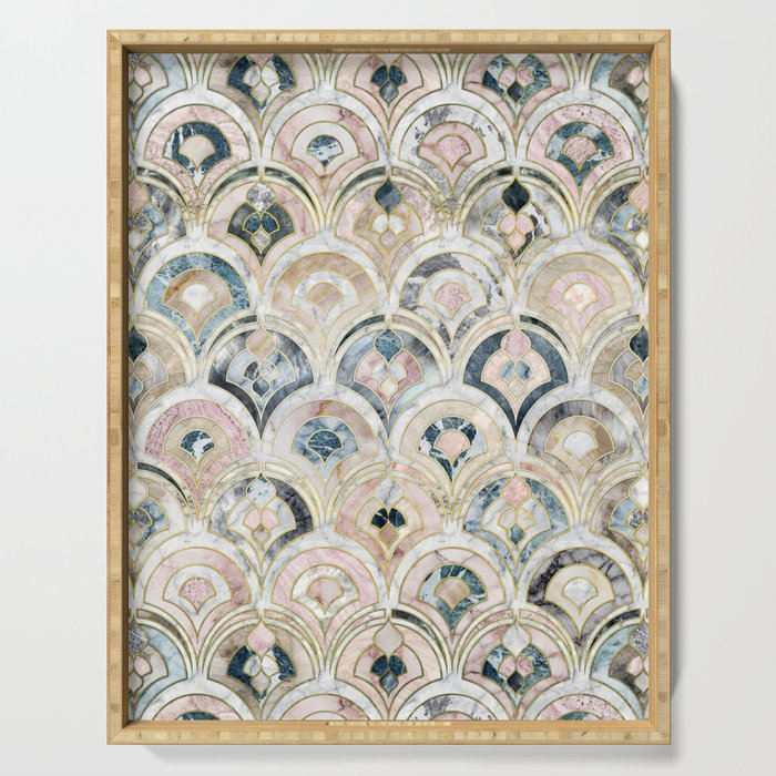 Art Deco Marble Tiles in Soft Pastels Serving Tray