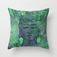 queer Throw Pillows featuring Queer Buddha ~ Wisdom II by Jamila