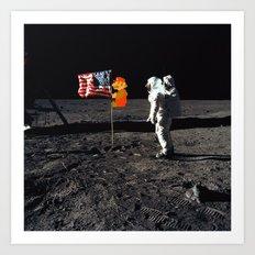 Super Mario on the Moon Art Print