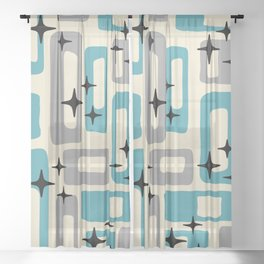 Retro Mid Century Modern Abstract Pattern 223 Blue and Gray Sheer Curtain