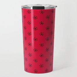 Black on Crimson Red Snowflakes Travel Mug