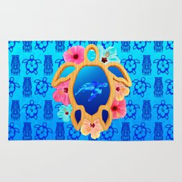Hawaiian Swimming Turtle And Tiki Masks Rug