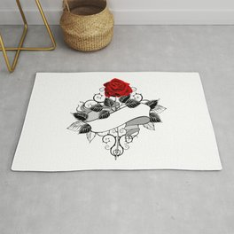 Red Rose with Ribbon Rug