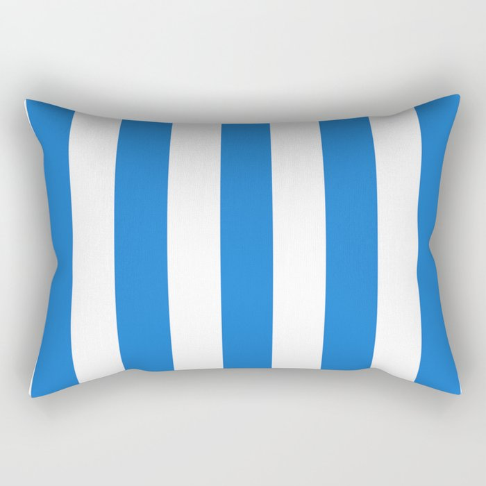Navy blue (Crayola) - solid color - white vertical lines pattern Rectangular Pillow