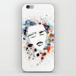 Sleepy Face in Spatter Pillow iPhone Skin