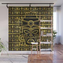 Gold  Aztec Inca Mayan Mask Wall Mural
