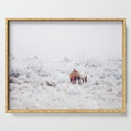 Two Winter Horses Serving Tray