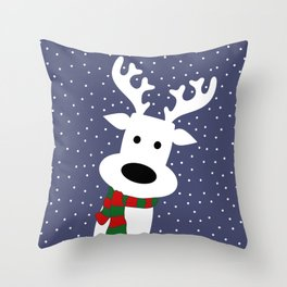 Reindeer in a snowy day (blue) Throw Pillow