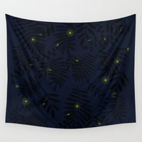 fireflies Wall Tapestries featuring Fireflies by Helena's universe
