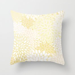 Floral Prints, Soft Yellow and White, Modern Print Art Throw Pillow