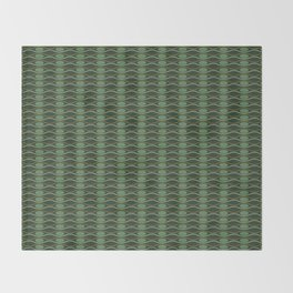 Geometric pattern with waves and pebbles in green Throw Blanket