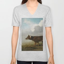 George Stubbs - Portrait of a Large Dog' (Dingo) Unisex V-Neck