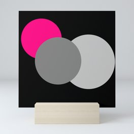 Pink Gray Black : Mod Circles Mini Art Print