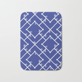 Bamboo Chinoiserie Lattice in Blue + White Bath Mat