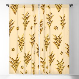 gold ananas leaves Blackout Curtain
