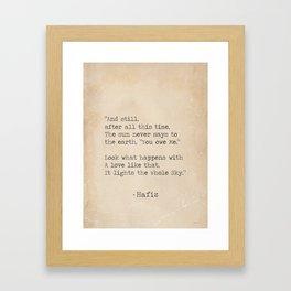 Hafiz quote Framed Art Print