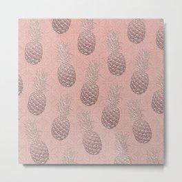 Precious Pineapple Pattern Metal Print