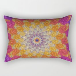 Rainbow Fractal Mandala Rectangular Pillow