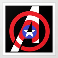 avenger Art Prints featuring Captain Avenger by foreverwars