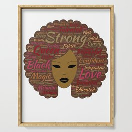 Afro Word Art Black History Month Natural Hair  Serving Tray