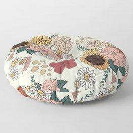Floral Bouquet with Snails and Butterflies Surface Pattern Design Floor Pillow