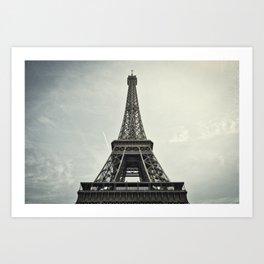 Black and White Eiffel Tower Art Print