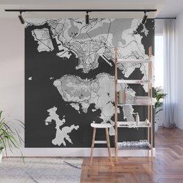 Hong Kong Map Gray Wall Mural