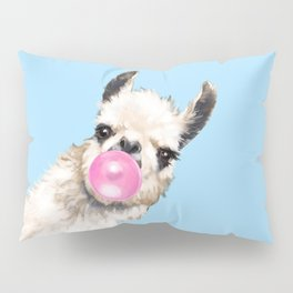 Bubble Gum Sneaky Llama in Blue Pillow Sham