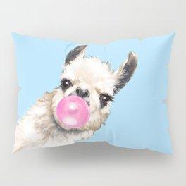 Bubble Gum Sneaky Llama in Blue Pillow Sham