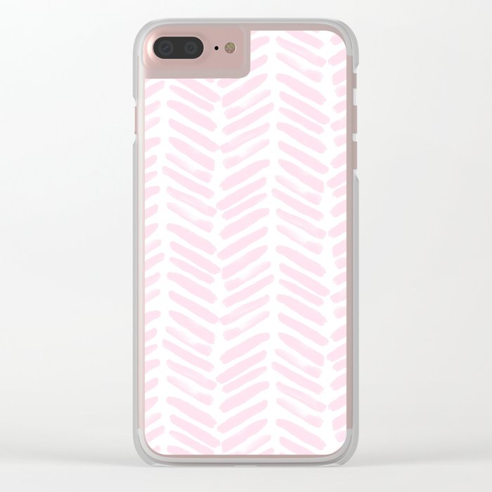 Handpainted Chevron pattern light pink stripes Clear iPhone Case