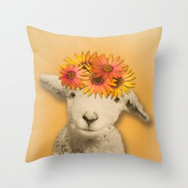 Daisies Sheep Girl Portrait, Mustard Yellow Texturized Background Throw Pillow