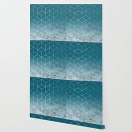 Gold Geometric Cubes Teal Marble Deco Design Wallpaper