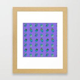 Cactus on Violet Background Framed Art Print