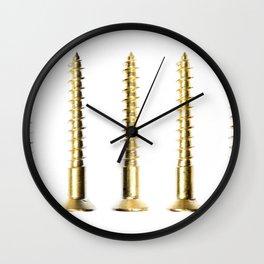 Golden Screws Wall Clock