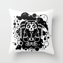Black character design skull Throw Pillow