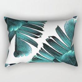 Banana Leaf - Tropical Leaf Print - Botanical Art - Modern Abstract - Blue, Navy, Teal Rectangular Pillow