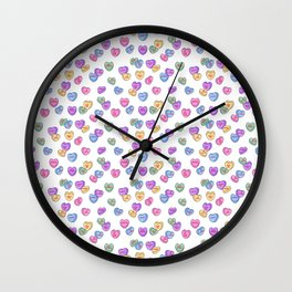 Feminist Valentine Candy Hearts in White, No Wifey Wall Clock