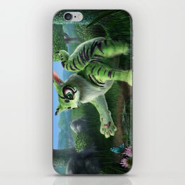 Fluffy Green Cat-Like Creature iPhone Skin