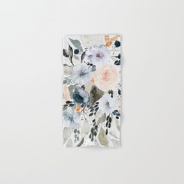Loose Blue and Peach Floral Watercolor Bouquet  Hand & Bath Towel