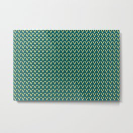 Dark Yellow V Shape Horizontal Line Pattern on Tropical Dark Teal Inspired by Sherwin Williams 2020 Trending Color Oceanside SW6496 Metal Print